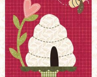 """Bee Mine Wool or cotton Applique Pattern Block from The Quilt Company 12 x 10"""" Beehive with """"Bee Mine"""" stitched #1"""