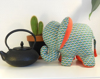 Decorative elephant in coated cotton - green variety Collection