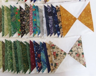 50 Earthtone Hourglass Quilt Blocks, UFO Quilt Top, 6.5 Finishing to 6 Inches