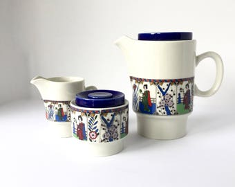 Mid Century Modern Weidman Japanese Garden Teapot Cream and Sugar Set