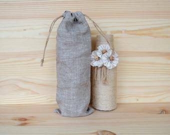 "10 Linen bags 3,5 x 10"" (9x26 cm) Gift packaging Fabric favor bags Linen gift bag Custom bag Natural favor bag Organic bag Twine drawstrings"