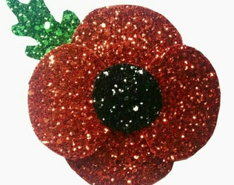 10% off with the code BDAY10  Large Glittered Rememberance Poppy Hair Clip and Brooch