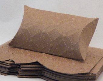"""20 Small Pillow Boxes, Kraft Pillow Box, Embossed Pillow Box, Pillow Gift Box, Kraft Gift Box, Pillow Boxes, 2-7/8"""" x 2-1/8"""""""