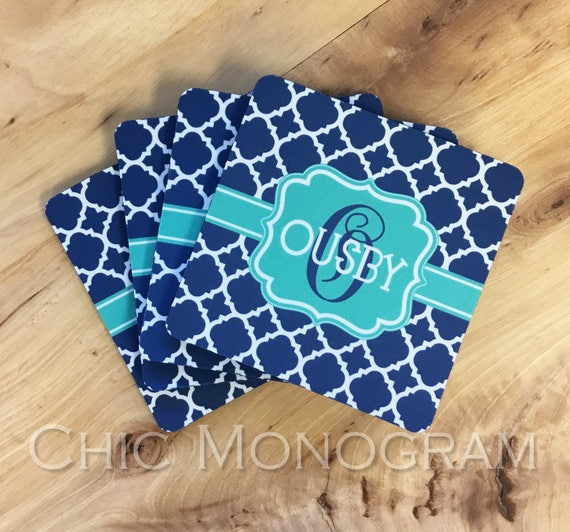 Personalized Coasters Custom Coasters Monogram Coasters Drink Coasters Mothers Day Coasters Monogrammed Gifts Hostess Housewarming Gift