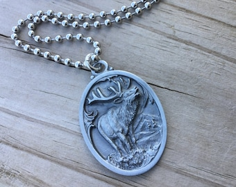 Men's Elk Necklace- Men's Necklace with Elk Charm on Chain of your choice