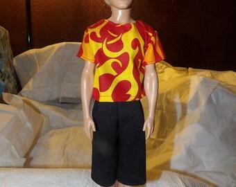 Flame print shirt & black board shorts for Male Fashion Dolls - kdc52