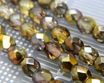 6MM Czech Fire Polished Round Faceted Beads - Stunning Fire Polish Beads - Czech Glass Beads - 19 Beads Per Bead Strand CB83