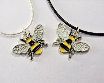 Bumble Bee necklace, Bee Pendant Necklace, Nature Love Jewellery, Silver Necklace Insect Bee Chain, Leather Cord Necklace , Black Yellow Bee