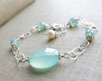 Aqua Chalcedony Bracelet Chalcedony Gemstone Jewelry Swarovski Crystal Sterling Silver Gemstone Bracelet Sea Foam Mint Aqua Jewelry
