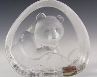 Mats Jonasson Glass Panda Paperweight #3363 - Signed