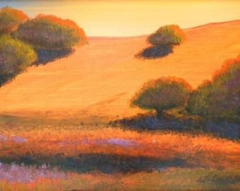 California art, Golden hills, hill paintings, Impressionistic, Hill landscapes, California Gold, on a CANVAS PRINT