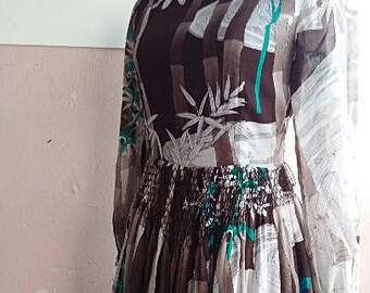 XS - Hanae Mori Cotton Dress - Summer Day Dress - Bamboo Print Long Sleeved Designer Dress - 25 inch waist- Japanese Vintage Size 7