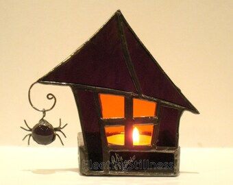 Stained Glass Candle Holder Halloween Decoration Goth Purple Orange Haunted House Handmade OOAK