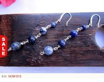 Sale -  Sodalite Earrings Brazilian Sodalite Throat Chakra Earrings Sagittarius Earrings Healing Power Earrings Sodalite Meditation Yoga Ear
