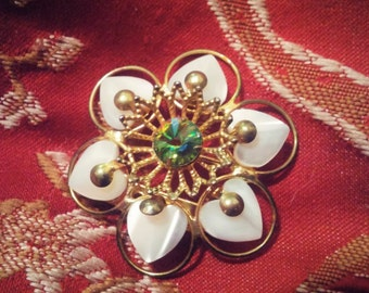 Flower Brooch Gold Tone Brooch Pin With Mother of Pearl Petals and Emerald Green Stone in  Center
