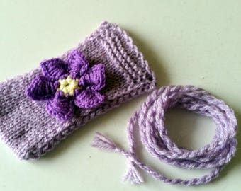 Hand knitted Phone case with flowers-Lilac Knit Phone cover with strap-Glasses cover-FREE SHIPPING