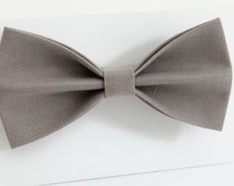 Grey  bow tie, wedding necktie, linen necktie,  groomsmen necktie,  pink-grey necktie,grey bow tie for men