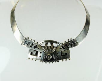 Vintage Boho Style Sterling Silver Mexican Statement Collar Necklace