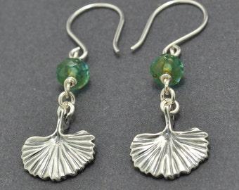 Sterling Silver Ginkgo Leaf Earrings, Silver Dangle Earrings, Czech Glass,