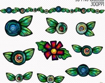 Whimsical Flowers Clip Art, Floral Graphics, Digital Scrapbooking Elements, Digital Downloads, Cute Clip Art Flowers, Flowers Cliparts, Digi