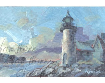 Lighthouse Painting Seascape Original Painting 4x6 inches Gallery Wrapped Canvas, Home Decor Wall or Mantle Art