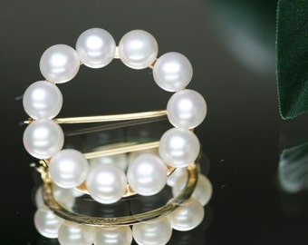 Vintage 14k and Pearl Circle Pin