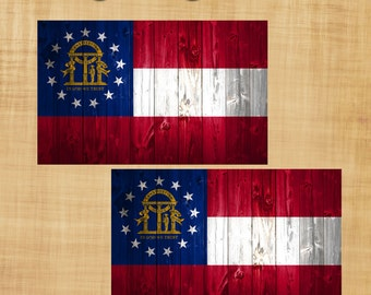 Georgia State Flag with rustic Wood Panel Effect Sticker Decal Set