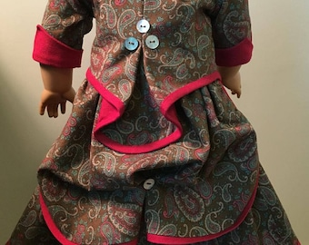18 Inch Doll Clothes - Historical Victorian 1870s Bustle Dress for American Girl or other 18 Inch Doll
