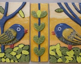 """Handmade """"Love Birds"""" folk art ceramic tile grouping, ready to hang"""