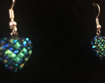 Blue Green Acrylic Heart Dangle Earrings