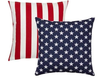 Two Throw Pillow Covers, Red White and Blue, Military Decor, Decorative Pillow Covers, Stars and Stripes Pillow Covers, Flag Pillows