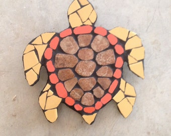 Sea turtles, turtles, tile mosaic art, fence decoration, fence ornaments, yard art, garden decor, garden accessories,