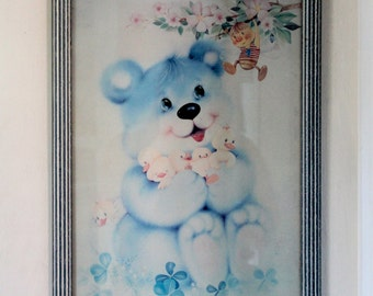 Sweet Vintage Framed Print of a teddy bear - 1980's