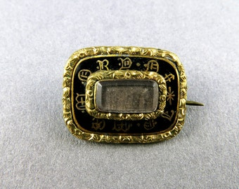 Antique Georgian Brooch Antique Mourning Jewelry Black And Gold Jewelry Gilt Enamel Jewelry Antiques Pin