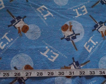 ET the Extra Terrestrial Bike Light Blue Flannel Fabric - almost 1 yard