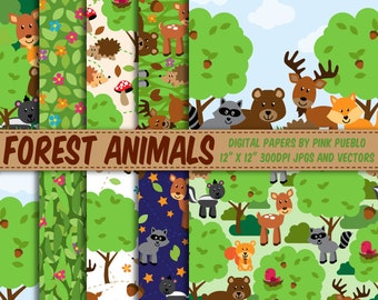 Forest Animal Digital Paper, Forest Animals Scrapbook Paper - Commercial and Personal Use