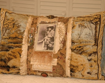 Mae West Says-Pillow with Vintage Trims and Buttons
