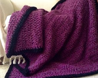 FREE SHIPPING! Window Seat,Luxurious Crochet Afghans for Sale,Large Plum Purple Chunky Crochet Throw Blanket,Purple Bedroom Decor