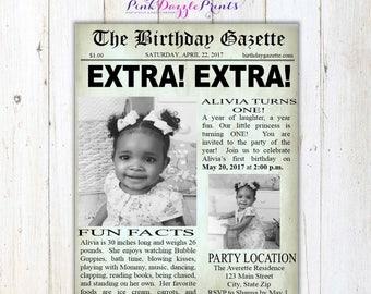 5x7 Printable Newspaper Birthday Invitation