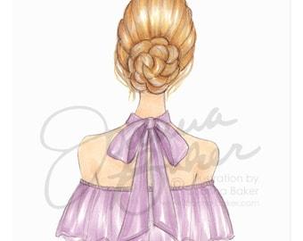 Blonde Braided Chignon Fashion Illustration Art Print / Fashion Illustration Sketch, Fashion Sketch Art, Fashion Art Print, Fashion Wall Art