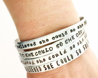 She Believed She Could So She Did Bracelet - Women Inspirational Cuff Bracelet - Sterling Silver Inspirational Quote Jewelry - Gift for her
