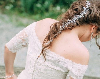 CRYSTAL BRAID | Long crystal clear hair vine wedding heapiece crystal hair vine