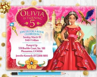 Elena of Avalor pink invitation birthday card Invite Princess Elena invitation