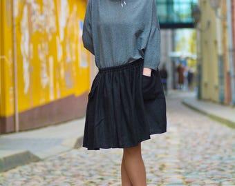 Handmade linen skirt, black linen skirt with pockets, skirt for summer