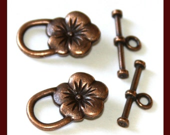 100 sets of Antiqued Copper flower clasps 22X14mm