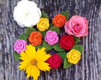 Set of 2 Crochet roses 2 leaves  Flower Applique  Embellishment Crochet patch