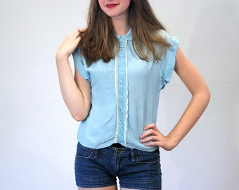 50s Baby Blue Blouse S, 1950s Pinup Rayon Vintage Tiny Fit Lacy Cap Sleeve Rockabilly Top, Small