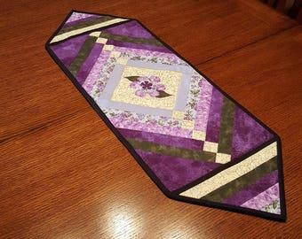 Lavender Flower Applique Table Runner, 32in x 10.75in