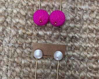 PomPom Dangling White Pink Summer Beaded Earrings