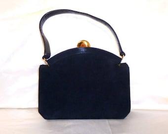Vintage Black Suede Mid Century Modern Handbag Purse